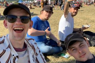 James and his mates Ethan, Joshua and Matthew at Glastonbury 2019