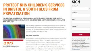 Screen grab of the petition calling for NHS children's services to be protected from being privatised