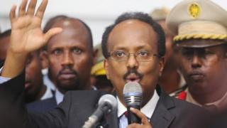 "President Mohamed Abdullahi Farmajo addresses lawmakers after winning the vote at the airport in Somalia""s capital Mogadishu, February 8, 2017"