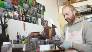Artist Drew Caines creating work at Patrick Studios