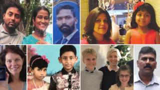 Victims of the attacks:, Top, L-R: Rangana Fernando, Danadiri Fernando, Subramani Christopher, Manik Suriaaratchi and daughter Alexandria. Bottom, L-R: Monique Allen, Sarah and Sharon Santhakumar, Alex, Anita and Annabel Nicholson, Ramesh Raju