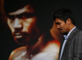 21 January 2016; New York, NY, USA; Manny Pacquiao during a press conference at Madison Square Garden to announce the upcoming boxing fight against Timothy Bradley, Jr.