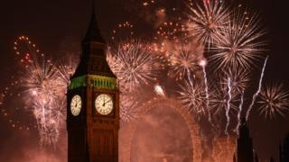 Fireworks display by Big Ben on 1 January 2015