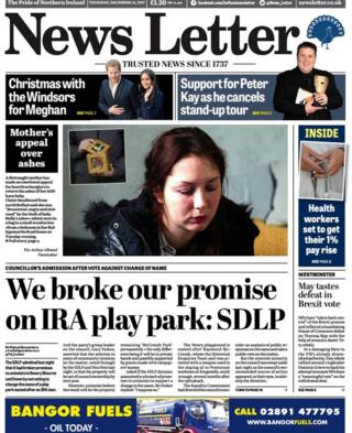 Front page of the News Letter, Thursday 14 December 2017
