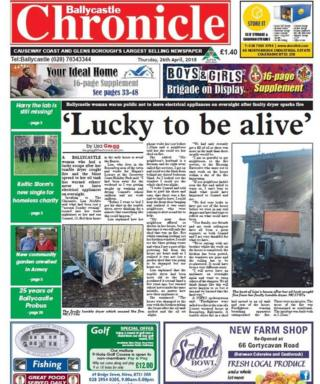 Front page of the Ballycastle Chronicle