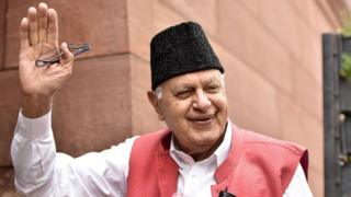 National Conference president and MP Farooq Abdullah arrives to attend the Budget Session at Parliament House on July 15, 2019 in New Delhi, India.