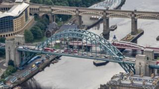 Vehicles travelling across the Tyne Bridge into Newcastle and Gateshead
