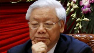"Vietnam""s Communist Party General Secretary Nguyen Phu Trong sits after voting for the new Central Committee during the 12th National Congress of the ruling Vietnam Communist Party in Hanoi, Vietnam, January 26, 2016."