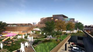 An architect illustration of Swansea Central Phase One's coastal parkland and arena