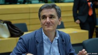 Greece's new finance minister Euclid Tsakalotos at Tuesday's Eurogroup meeting
