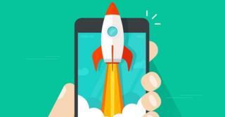 Ilustração representa um smartphone super rápido, com a imagem de um aparelho junto com um foguete