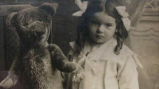Ida Webb (later Goring) aged three with Bear in 1916.