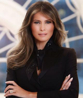 First Lady Melania Trump is seen in her first official portrait at the White House