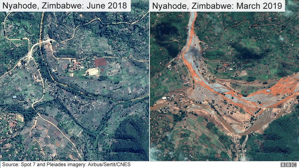 Satellite image of areas of Zimbabwe affected by Cyclone Idai