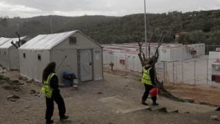 New migrant camp prepared at Moria, Lesbos