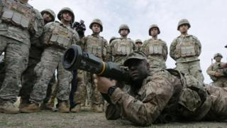Joint military exercise of forces from Georgia, Britain and the USA