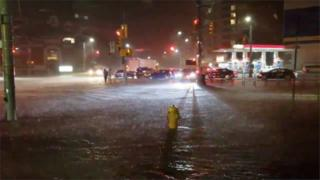 Flooded streets in rain