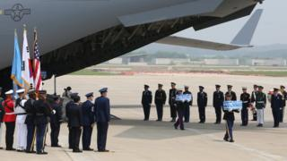 US military airplane arriving at base in South Korea