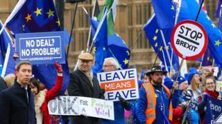"""Демонстранты из обоих лагерей - за и против """"брексита"""" у парламента в Лондоне"""