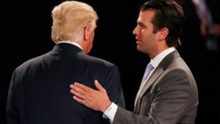 President Trump and Trump Jr in 2016