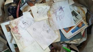 scraps of Zahed's personal belongings - drawings