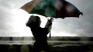 Woman struggling with umbrella