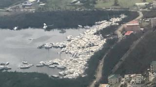 Boats piled up at the island of Tortola