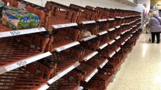 Empty shelves at supermarket in Bath