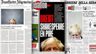 Combo picture of newspaper front pages featuring photos of Boris Johnson