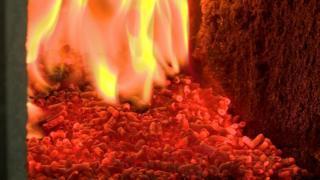 Burning wood pellets in a biomass boiler