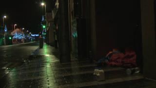 Rough sleeper on Monaghan Street, Newry