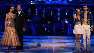 Katie Derham, Anton Du Beke, Anita Rani and Gleb Savchenko during the Strictly Come Dancing results show