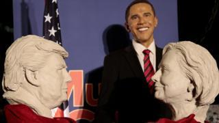 Обама, Трамп и Клинтон в музее восковых фигур