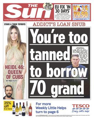 Sun front page 22/08/19