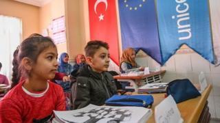 Türkiye'de bir okuldaki Suriyeli öğrenciler