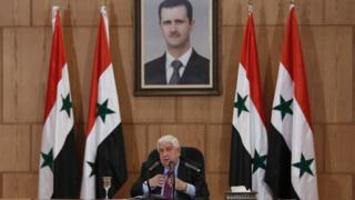 Syrian Foreign Minister Walid al-Moallem speaks during a press conference in Damascus, Syria, 08 May 2017
