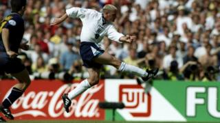 Paul Gascoigne scoring for England in 1996
