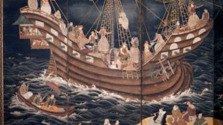 Detail of a screen depicting Portuguese carracks at Nagasaki, 17th century