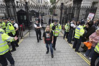 Protesters gather outside Downing Street to urge the Prime Minister to back the ban on hunting with dogs.
