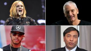 From top left clockwise - Adele, Sir James Dyson, Lewis Hamilton and Lakshmi Mittal