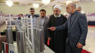 Iranian President Hassan Rouhani (C) and head of Iran nuclear technology organization Ali Akbar Salehi