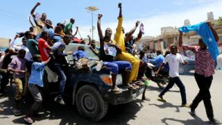 People celebrating the presidential election result in Mogadishu, Somalia - Thursday 9 February 2017