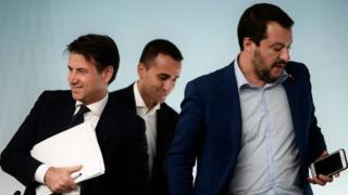 Italy's Prime Minister, Giuseppe Conte, Deputy Prime Minister and Minister of Economic Development, Labour and Social Policies, Luigi Di Maio and Deputy Prime Minister and Interior Minister, Matteo Salvini