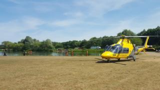 Rescue teams in water