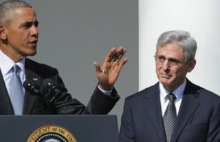 President Barack Obama (left) introduces Judge Merrick Garland as his nominee to replace the late Supreme Court Justice Antonin Scalia in the Rose Garden at the White House