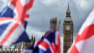 Union flags and England flags flutter in foreground, with Big Ben and the Houses of Parliament in the background