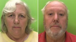 Mugshot photos of Margaret and Alan Hampshire