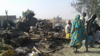 The aftermath of the bombing at a camp for internally displaced persons in Rann, Nigeria