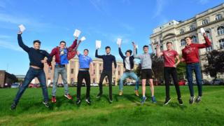 GCSE students celebrate their results at the Royal Belfast Academical Institution