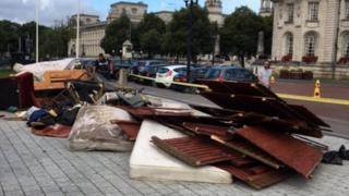Fly tipping outside city hall